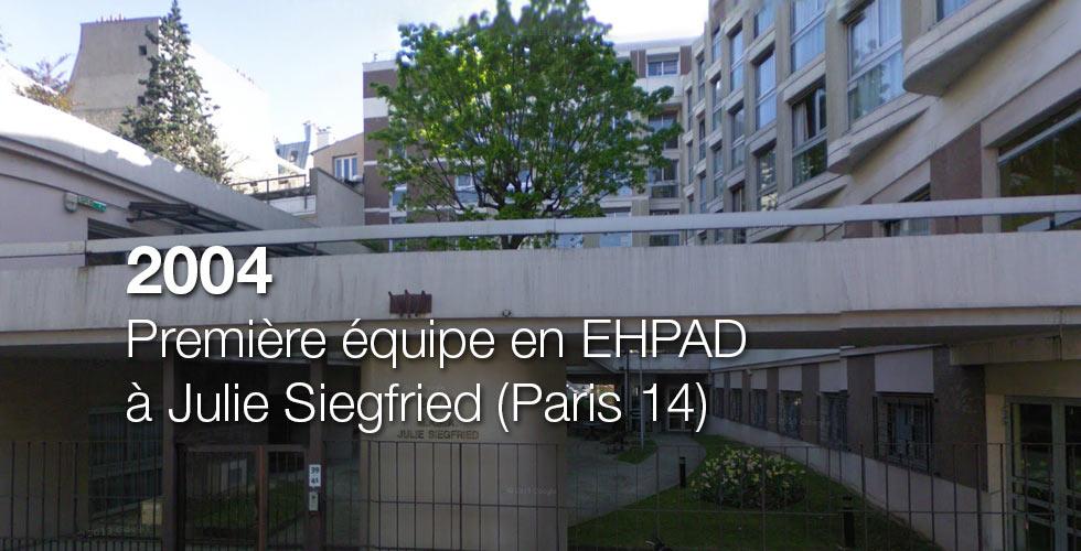 2004 : Première équipe en EHPAD à Julie Siegfried (Paris 14)