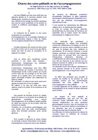 Charte des Soins palliatifs