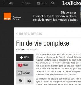 Fin de vie complexe - Les Echos (24 décembre 2013)