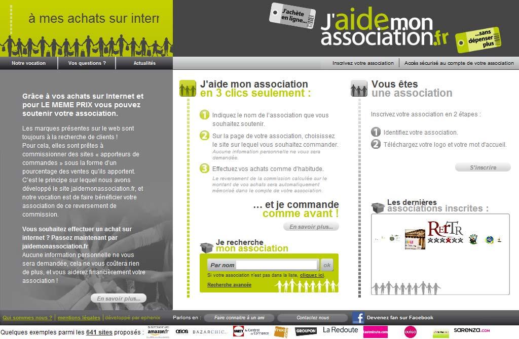 jaidemonassociation.fr, grâce à vos achats sur internet et pour le même prix !