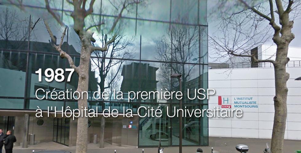 1987 : Création de la première USP à l'Hôpital de la Cité Universitaire