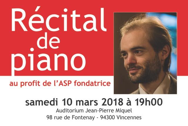10 mars: Récital de piano par François Henry au profit de l'ASP fondatrice