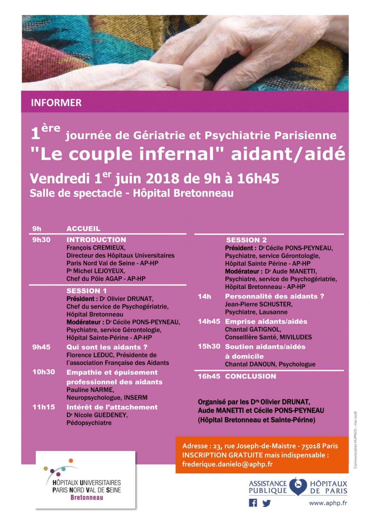 1er juin : Journée de Gériatrie et Psychiatrie Parisienne sur les aidants/aidés